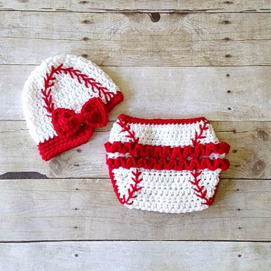 Crochet Baby Baseball Hat Visor Beanie Newsboy Cap Girl Bow Ruffled Diaper Cover Ruffles Sports Set Newborn Infant Photography Photo Prop - Red Lollipop Boutique