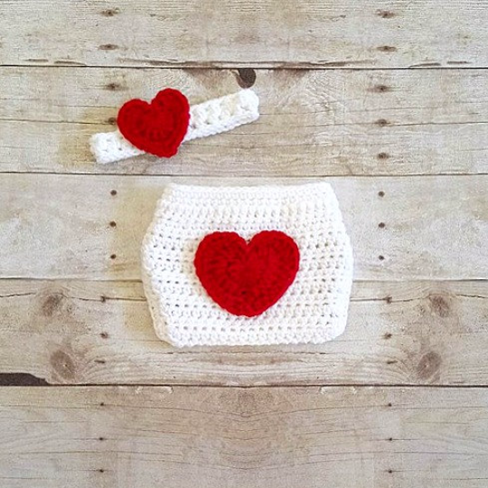 Crochet Baby Heart Diaper Cover Headband Set Infant Newborn Baby Handmade Photography Photo Prop Baby Shower Gift Present Valentine's Day - Red Lollipop Boutique