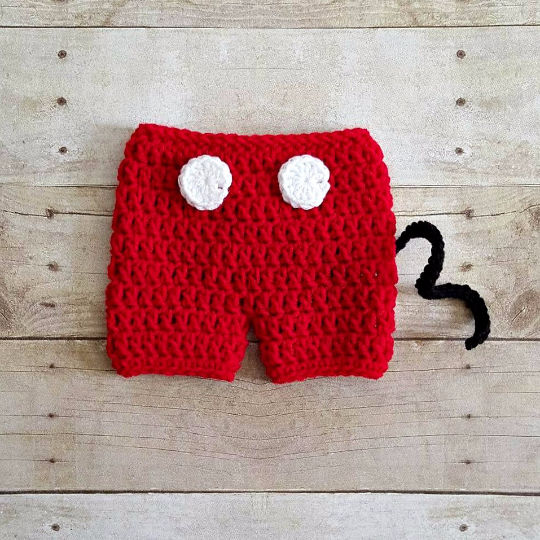 Crochet Baby Mickey Mouse Hat Shorts Diaper Cover Shoes Booties Boots Beanie Set Newborn Photography Photo Prop Handmade Baby Shower Gift - Red Lollipop Boutique