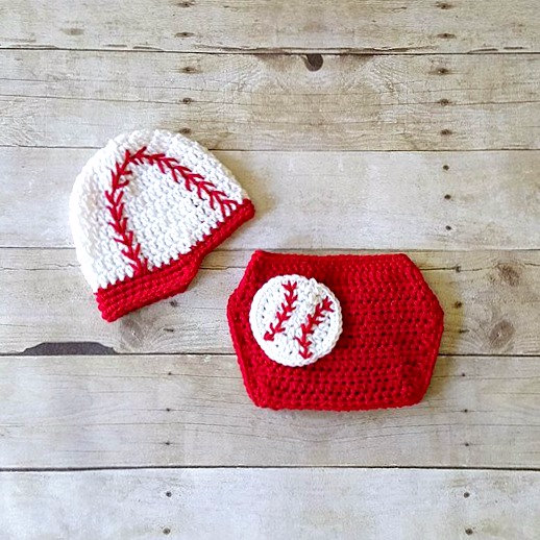 Crochet Baby Baseball Hat Newsboy Visor Beanie Diaper Cover Set Sports Red White Newborn Infant Photography Photo Prop Handmade Shower Gift - Red Lollipop Boutique