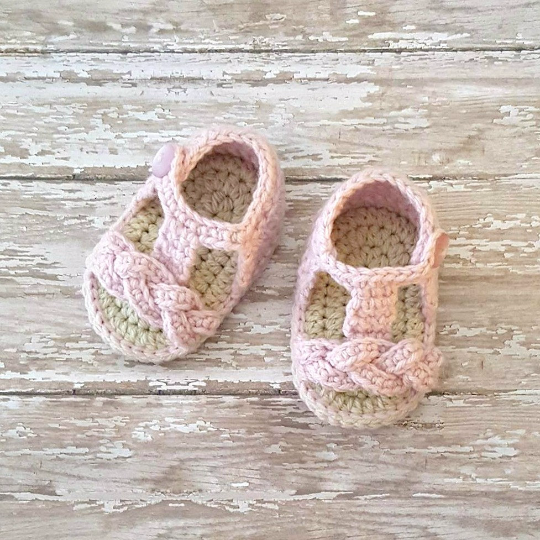 Crochet Baby Sandals Shoes Slippers Booties Gladiator Braided Braid Newborn Infant Footwear Spring Summer Clothing Accessory Handmade Gift - Red Lollipop Boutique