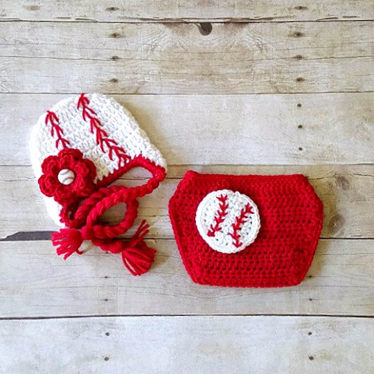 Crochet Baby Baseball Hat Beanie Braided Cap Girl Flower Red Diaper Cover Sports Set Newborn Infant Photography Photo Prop Handmade Gift - Red Lollipop Boutique