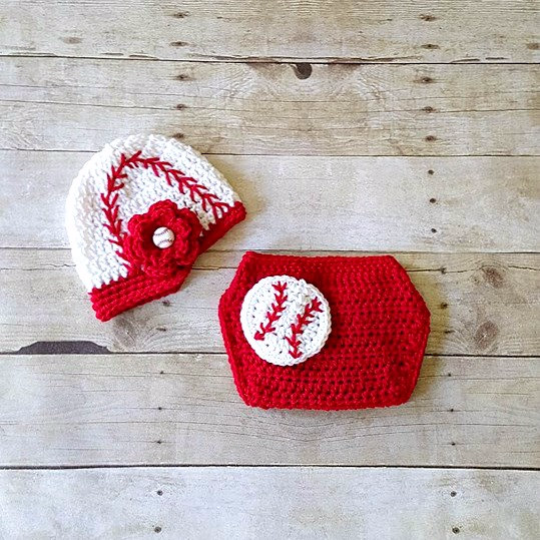 Crochet Baby Baseball Hat Visor Beanie Newsboy Cap Girl Flower Red Diaper Cover Ruffles Sports Set Newborn Infant Photography Photo Prop - Red Lollipop Boutique