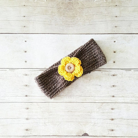 Crochet Flower Headband Ear Muff Warmer Turban Button Infant Baby Toddler Child Adult Hair Accessory Photography Photo Prop Baby Shower Gift