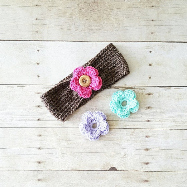 Crochet Interchangeable Flower Headband Ear Muff Warmer Turban Button Infant Baby Toddler Child Adult Hair Accessory Photography Photo Prop