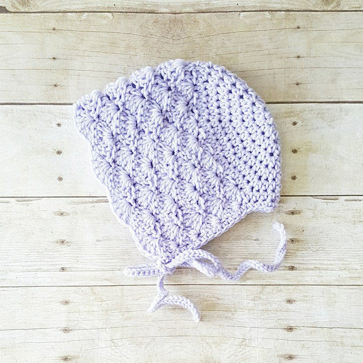 Crochet Baby Bonnet Beanie Hat Shells Spring Summer Infant Newborn