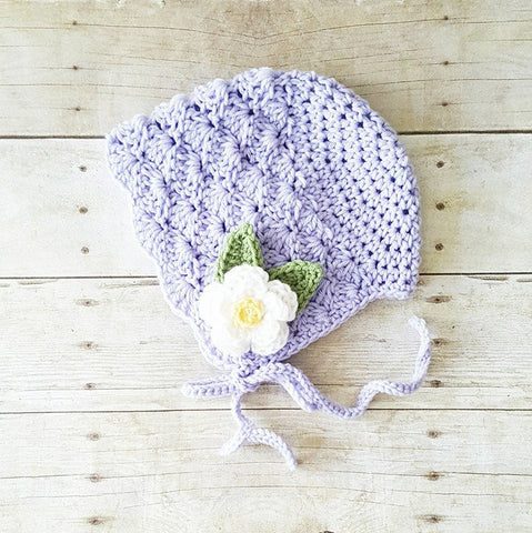 Crochet Baby Bonnet Beanie Hat Flower Shells Spring Infant Newborn Toddler Child Girl Photography Photo Prop Accessory Baby Shower Gift