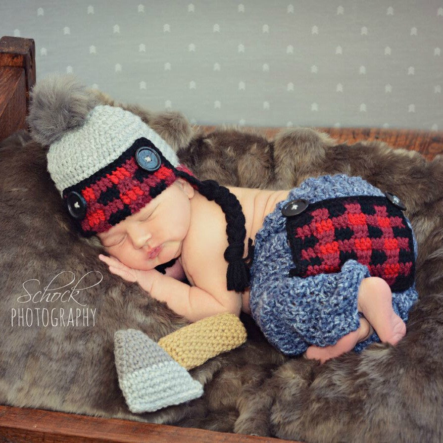 26b2af399 Crochet Baby Lumberjack Plaid Hat Beanie Pants Ax Set Newborn Infant Baby  Photography Photo Prop Handmade