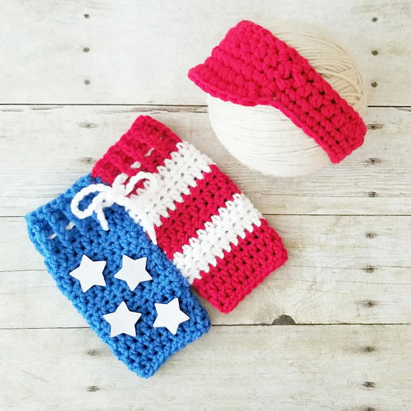 Crochet Baby 4th of July Shorts Visor Hat Set American Flag Stars and Stripes Diaper Cover Infant Newborn Baby Photography Photo Prop Handmade Baby Shower Gift - Red Lollipop Boutique
