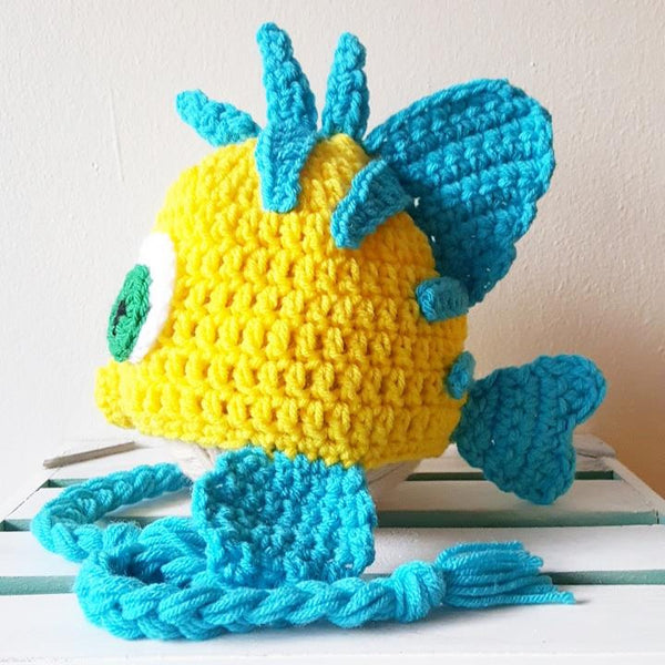 Crochet Flounder Hat Beanie The Little Mermaid Newborn Infant Baby Toddler Child Adult Handmade Photography Photo Prop - Red Lollipop Boutique