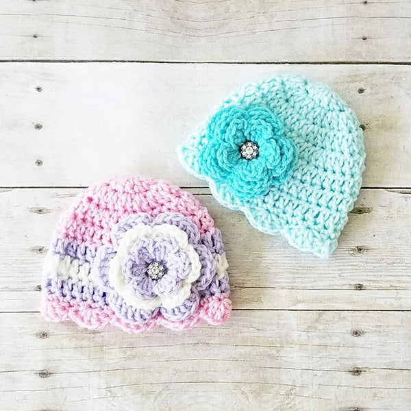 Crochet Baby Flower Beanie Hat Scalloped Spring Summer Infant Newborn Toddler Child Adult Photography Prop Baby Shower Gift Present - Red Lollipop Boutique