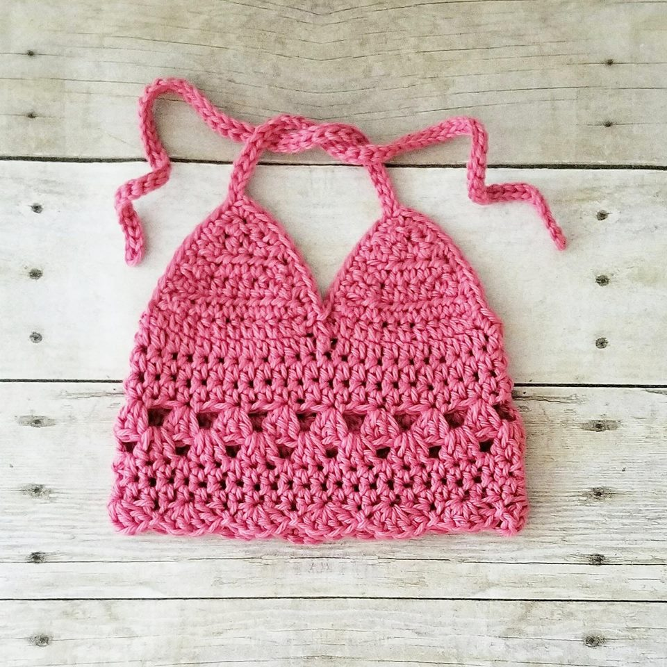 Crochet Baby Halter Top Boho Sleeveless Tank Top Shirt Spring Summer Clothing Infant Baby Toddler Child Photography Photo Prop Baby Shower - Red Lollipop Boutique