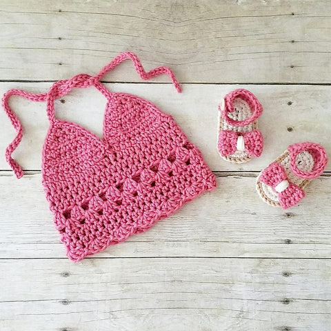 Crochet Halter Top Bow Sandals Shoes Slippers Set Infant Newborn Baby Boho Chic Spring Summer Accessory Handmade Photography Photo Prop Baby Shower Gift