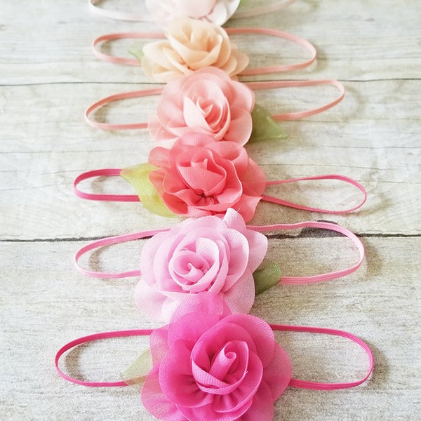 Chiffon Flower Leaf Headbands Boutique Hair Accessory Newborn Baby Infant Toddler Child Girl Photography Photo Prop - Red Lollipop Boutique