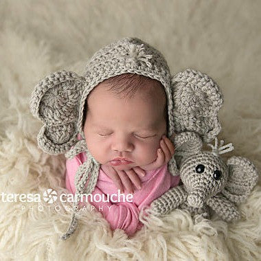 Crochet Baby Bear Bonnet Hat Beanie Stuffie Stuffed Animal Set Infant Newborn Baby Toddler Handmade Photography Photo Prop Baby Shower Gift Present - Red Lollipop Boutique