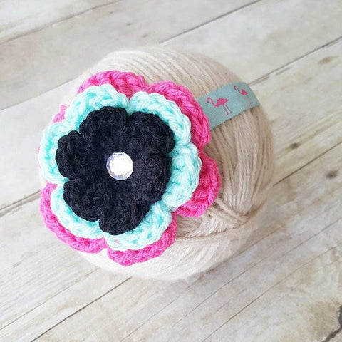 Baby Flamingo Headband Crochet Flower Pink Aqua Mint Black Rhinestone Infant Newborn Baby Toddler Child Photography Photo Prop Baby Shower