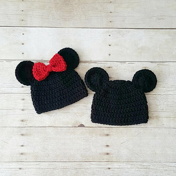 Crochet Baby Mickey Mouse Minnie Mouse Hat Beanie Bow Ears Infant