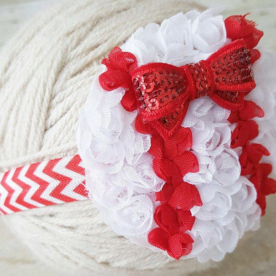 Baby Baseball Headband Red White Chevron Sparkle Sequin Bow Baby Girl Hair Accessory Sports Fan Photography Photo Prop Baby Shower Gift - Red Lollipop Boutique