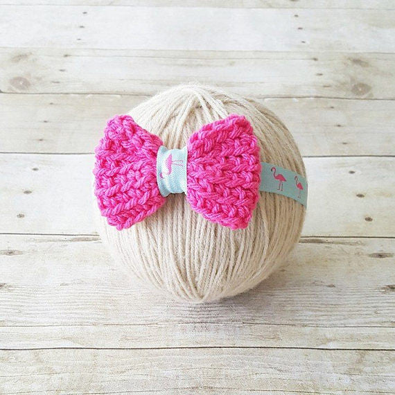 Baby Flamingo Headband Crochet Bow Pink Aqua Mint Black Rhinestone Infant Newborn Baby Toddler Child Photography Photo Prop Baby Shower Gift - Red Lollipop Boutique