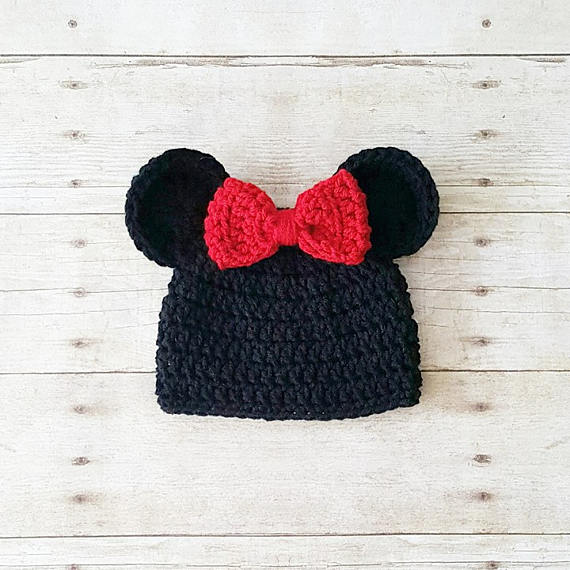 Crochet Baby Mickey Mouse Minnie Mouse Hat Beanie Bow Ears Infant Newborn Baby Toddler Child Photography Photo Prop Baby Shower Gift Present - Red Lollipop Boutique