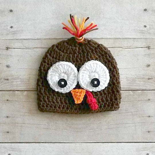 Crochet Turkey Hat Beanie Thanksgiving Infant Baby Newborn Toddler Child Adult Handmade Fall Accessory Photography Photo Prop Baby Shower Gift Boy Gender Neutral Unisex - Red Lollipop Boutique