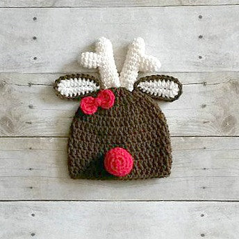 Crochet Girl Reindeer Hat Beanie Christmas Holiday Infant Baby Newborn Toddler Child Adult Handmade Winter Accessory Photography Photo Prop Baby Shower Gift - Red Lollipop Boutique