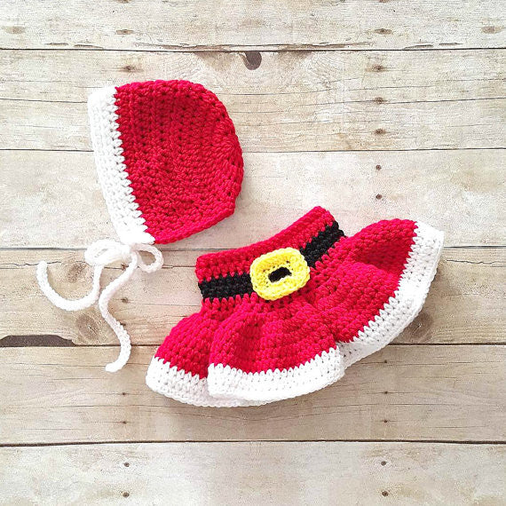 Crochet Baby Christmas Mrs. Claus Skirt Bonnet Hat Beanie Set Girl Dress Infant Newborn Handmade Baby Shower Gift Winter Accessory Clothing Photography Photo Prop - Red Lollipop Boutique