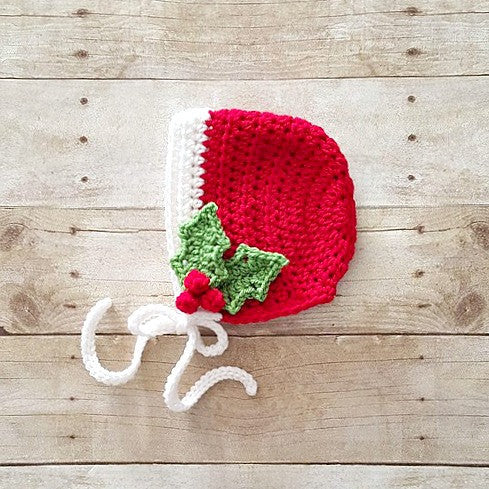 Crochet Baby Holly Bonnet Hat Beanie Christmas Holiday Baby Infant Newborn Toddler Child Handmade Photography Photo Prop Handmade Baby Shower Gift Winter Accessory - Red Lollipop Boutique