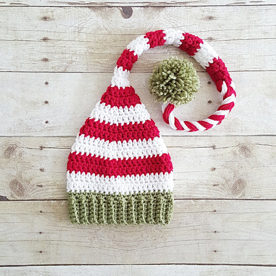 Crochet Baby Striped Christmas Hat Beanie Stocking Cap Pants Overalls Set Red Green White Handmade Photography Photo Prop Baby Shower Gift - Red Lollipop Boutique