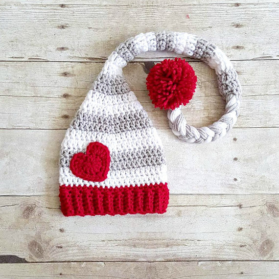 Crochet Baby Valentine's Day Heart Stocking Cap Beanie Hat Striped Infant Newborn Baby Toddler Child Adult Handmade Photography Photo Prop Baby Shower Gift Present
