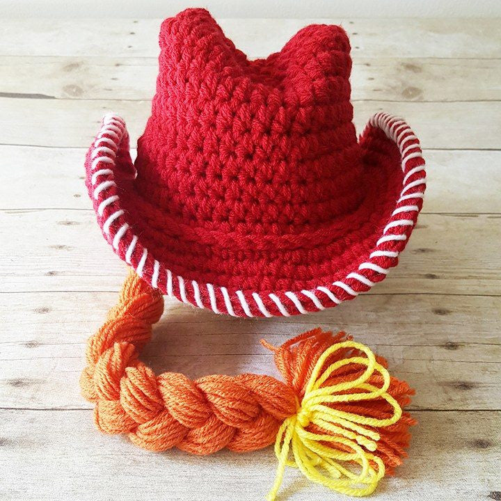 Crochet Jessie Toy Story Cowboy Cowgirl Hat Country Western Beanie Bonnet Newborn Infant Baby Toddler Child Photography Photo Prop Shower