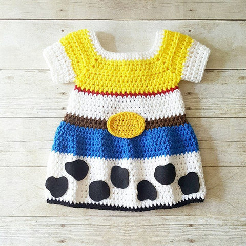 Crochet Baby Jessie Dress Toy Story Cowboy Cowgirl Skirt Country Western Newborn Infant Baby Toddler Child Photography Photo Prop Shower - Red Lollipop Boutique