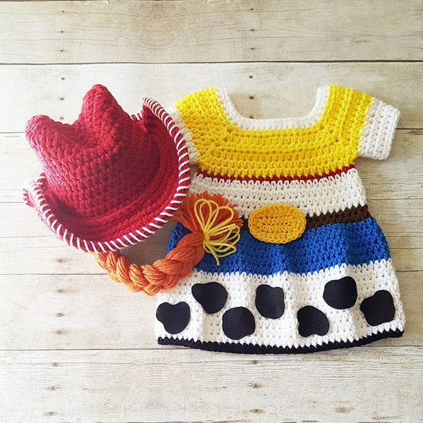 Crochet Baby Jessie Dress Toy Story Skirt Cowgirl Hat Beanie Bonnet Braid Cowboy Infant Newborn Baby Photography Photo Prop Baby Shower Gift - Red Lollipop Boutique