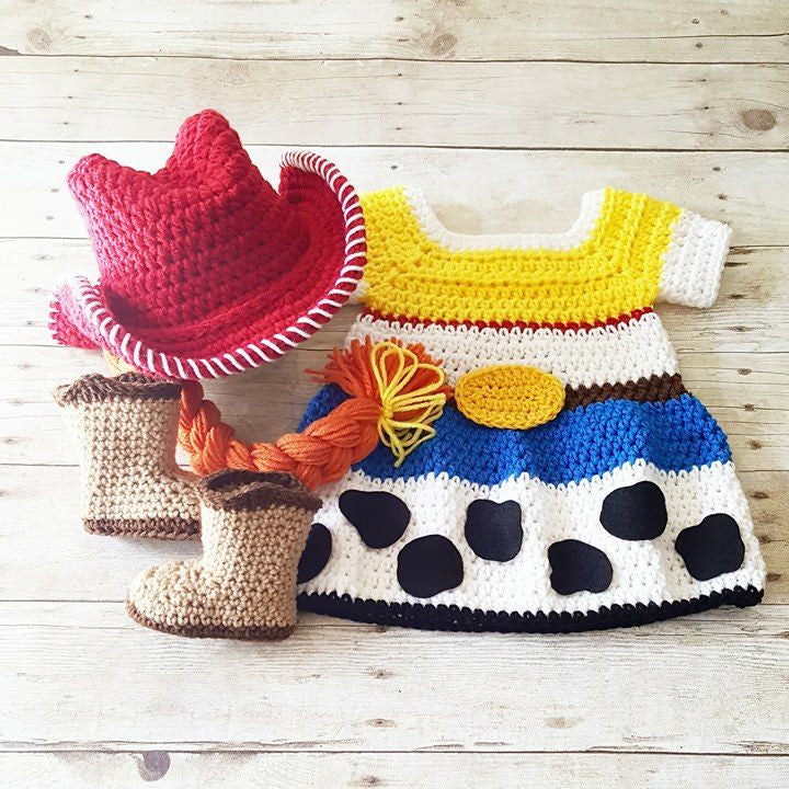 Crochet Baby Jessie Dress Toy Story Skirt Cowgirl Hat Beanie Braid Cowboy Boots Infant Newborn Baby Photography Photo Prop Baby Shower Gift