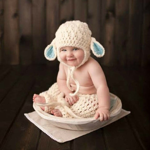 07a0948b19b Crochet Baby Lamb Bonnet Beanie Hat Pants Diaper Cover Set Infant Newborn  Baby Handmade Photography Photo