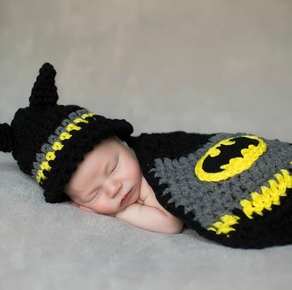 Crochet Baby Batman Hat Beanie Cape Set Superhero Infant Newborn Photography Photo Prop Handmade - Red Lollipop Boutique