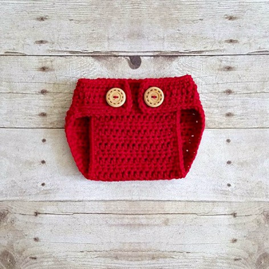 Crochet Baby Diaper Cover Bloomers Button Adjustable Newborn Infant Photography Photo Prop Handmade Baby Shower Gift Baby Boy Baby Girl Prop - Red Lollipop Boutique