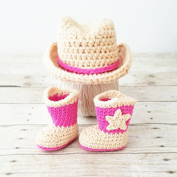 Crochet Baby Cowboy Hat Boots Set Cowgirl Country Infant Newborn Baby Photography Photo Prop Baby Shower Gift - Red Lollipop Boutique
