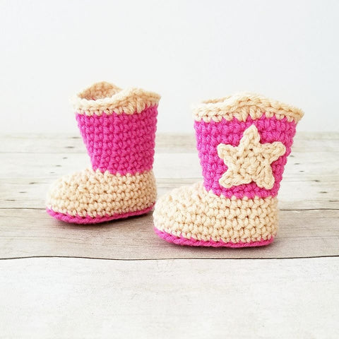 Crochet Baby Cowboy Boots Shoes Cowgirl Country Infant Newborn Baby Photography Photo Prop Baby Shower Gift - Red Lollipop Boutique