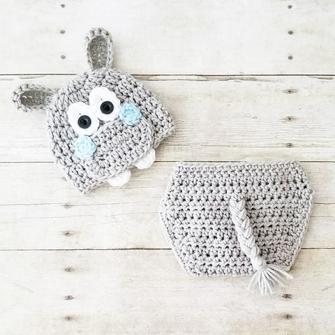 READY TO SHIP Newborn Crochet Baby Hippo Hat Beanie Diaper Cover Set Infant Newborn Baby Handmade Photography Photo Prop Baby Shower Gift