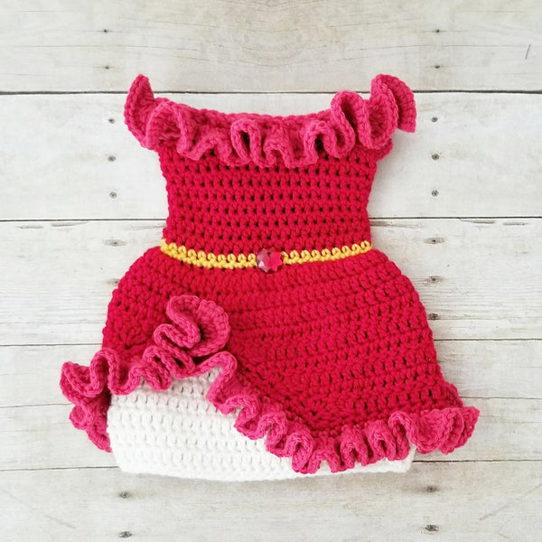 Crochet Baby Elena of Avalor Dress Set Crown Shoes Costume Infant Newborn Baby Photography Photo Prop Baby Shower Gift - Red Lollipop Boutique