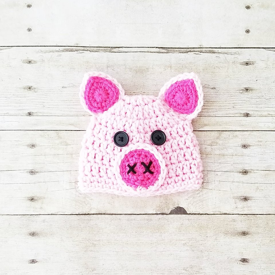 Crochet Baby Pig Hat Beanie Infant Newborn Baby Handmade Photography Photo Prop Baby Shower Gift - Red Lollipop Boutique