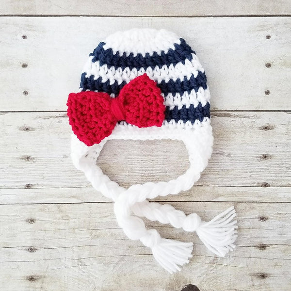 Crochet Baby Striped Bow Beanie Pants Set Diaper Cover Infant Newborn Baby Photography Photo Prop Baby Shower Gift - Red Lollipop Boutique