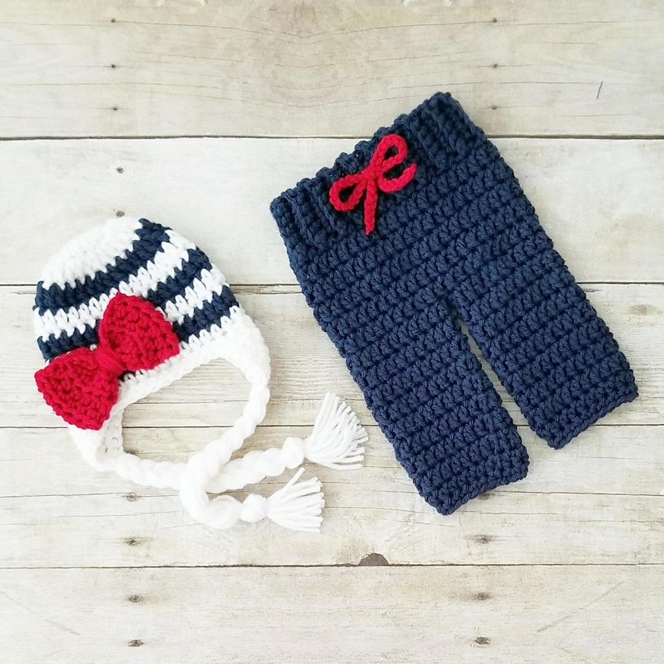 Crochet Baby Striped Bow Beanie Pants Set Diaper Cover Infant