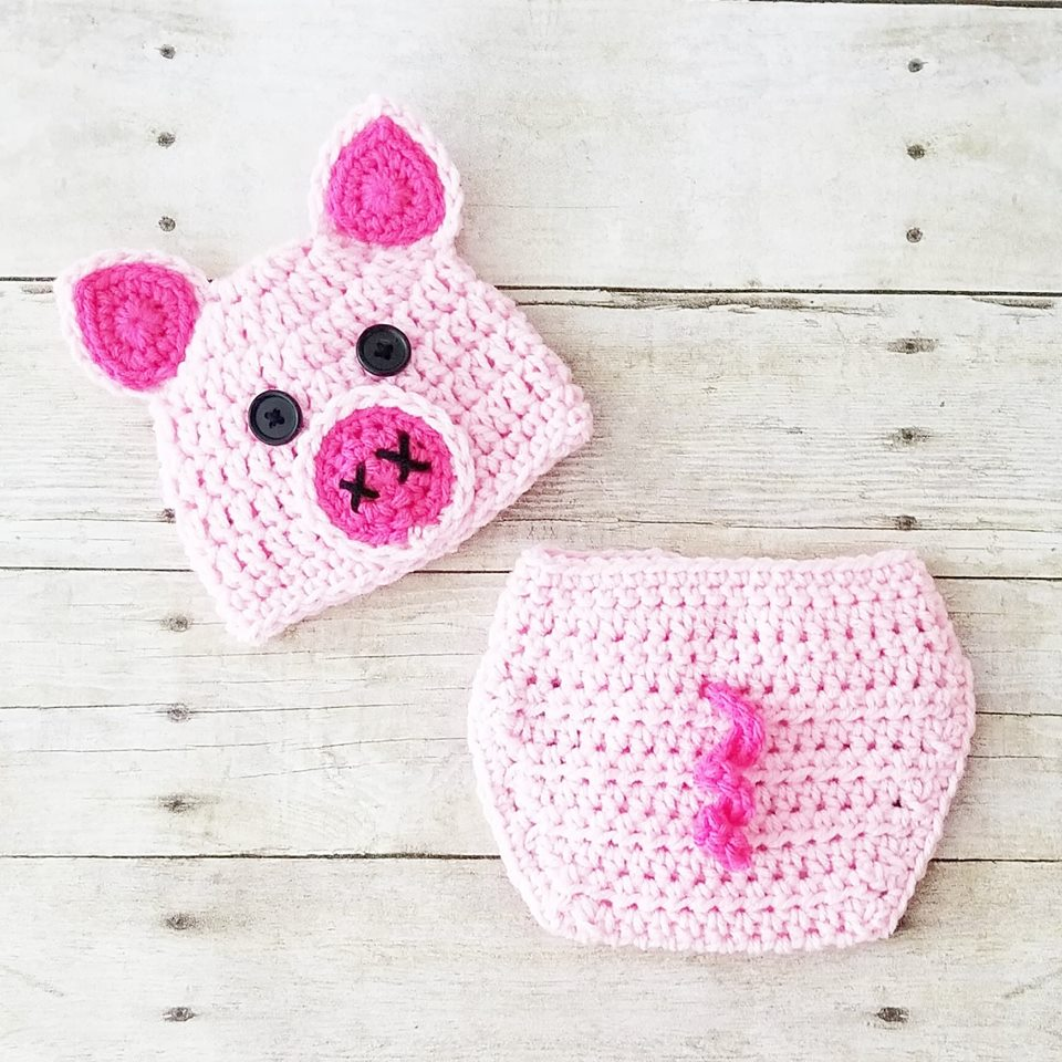 READY TO SHIP Newborn Crochet Baby Pig Hat Beanie Diaper Cover Set Infant Newborn Baby Handmade Photography Photo Prop Baby Shower Gift