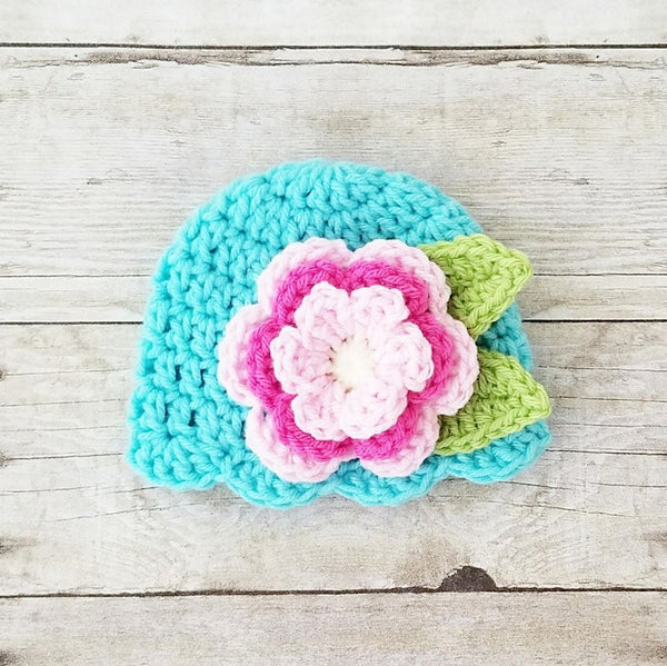Crochet Baby Big Flower Beanie Ruffled Diaper Cover Set Infant Newborn Baby Photography Photo Prop Baby Shower Gift - Red Lollipop Boutique