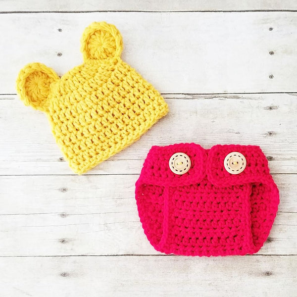 Crochet Baby Pooh Bear Hat Beanie Diaper Cover Set Winnie The Pooh Infant Newborn Baby Handmade Photography Photo Prop Baby Shower Gift - Red Lollipop Boutique