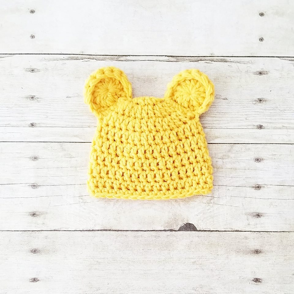 Crochet Baby Pooh Bear Hat Beanie Winnie The Pooh Infant Newborn Baby Handmade Photography Photo Prop Baby Shower Gift - Red Lollipop Boutique