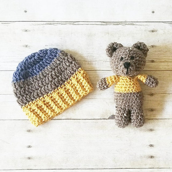 Crochet Striped Beanie Hat Pixie Bonnet Teddy Bear Stuffie Set Infant Newborn Baby Toddler Child Photography Photo Prop Baby Shower Gift