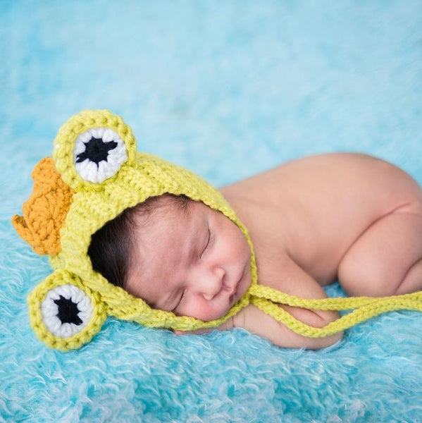 Crochet Baby Frog Prince Bonnet Hat Beanie Newborn Infant Toddler Child Photography Prop Handmade Baby Shower Gift - Red Lollipop Boutique